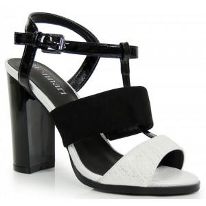Čierno biele dámske sandále na vysokom podpätku