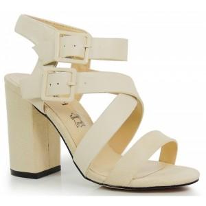 Béžové dámske sandále s dvojitým zapínaním