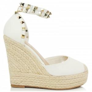 Biele dámske sandále so zlatými kamienkami
