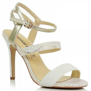Bielo zlaté dámske sandále na tenkom podpätku