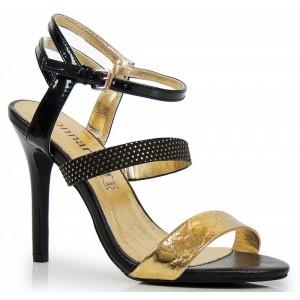 Čierne dámske sandále so zlatou aplikáciou