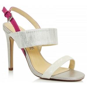 Strieborné dámske sandále na tenkom podpätku