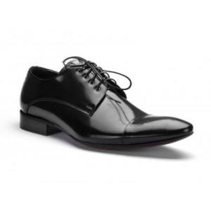 COMODO E SANO spoločenská pánska kožená obuv čiernej farby
