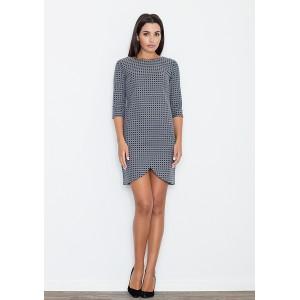 Sivé dámske šaty s geometrickým vzorom