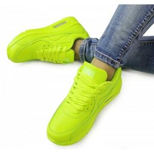 Športová obuv dámska neónová na šnurovanie