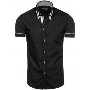 Pánska čierna košeľa s krátkym rukávom