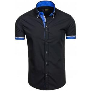 Pánska slim fit košeľa čierna s krátkym rukávom