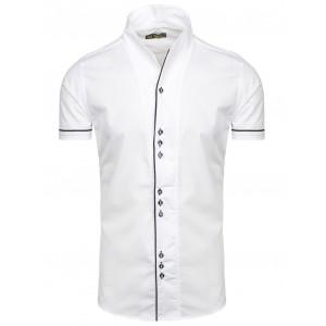 Pánske košele s krátkym rukávom bielej farby s originálnym golierom
