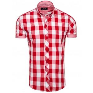 Kockovaná košeľa krátky rukáv červenej farby na každú príležitosť