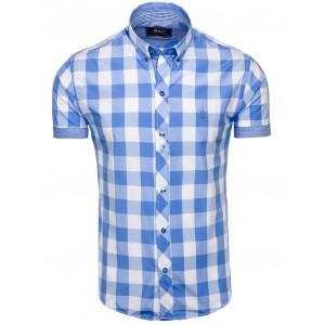 Košeľa s krátkym rukávom s kockami modrá