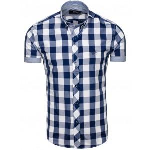 Košeľa tmavo modrej farby s krátkym rukávom s kockami