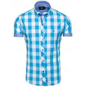 Pánske košele s krátkym rukávom modrej farby na voľný čas