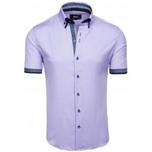 Košele pre pánov vo fialovej farbe s krátkym rukávom