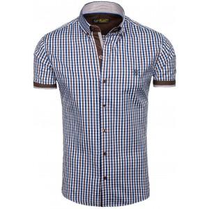 Moderná pánska košeľa s krátkym rukávom v hnedo modrej farbe