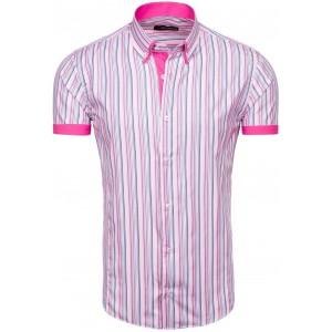 Pánska ružová košeľa s krátkym rukávom pásikavá