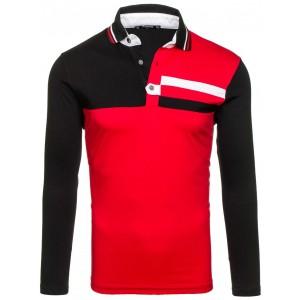 Červeno čierne pánske tričko s golierom