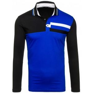 Čierno modré pánske tričko s dlhým rukávom