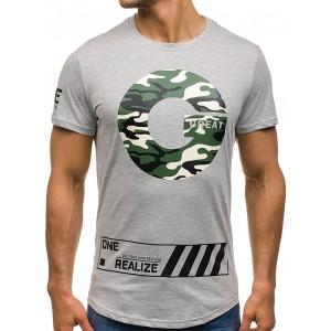 Sivé pánske tričko s krátkym rukávom s okrúhlym výstrihom