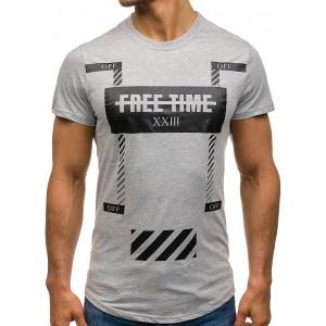 Pánske tričká s krátkym rukávom sivej farby s nápisom vzadu
