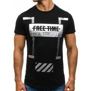 Čierne bavlnené tričko s modernou potlačou
