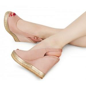 Elegantné ružové sandále na platforme s otvorenou špičkou