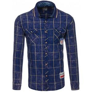 Károvaná pánska košeľa tmavo modrej farby