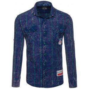 Tmavo modrá pánska košeľa s vreckami na hrudi