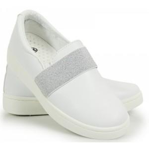 Biele dámske topánky na voľný čas so sivou gumkou