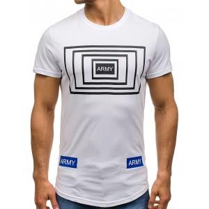 Športové pánske tričko s nápisom bielej farby