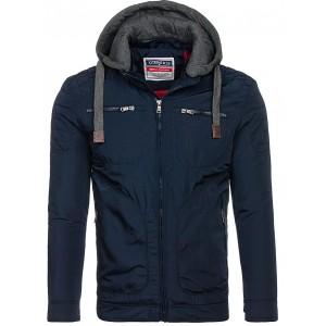 Prechodná bunda modrej farby s teplákovou kapucňou
