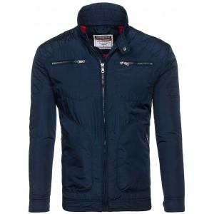 Moderná pánska prechodná bunda modrej farby bez kapucne