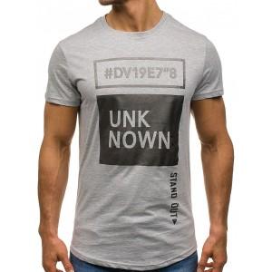 Sivé pánske tričko s nápisom