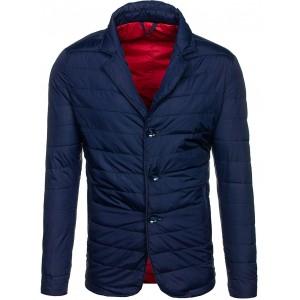 Pánska prešívaná bunda na jar so zapínaním na gombíky modrej farby