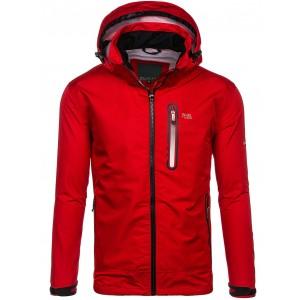 Športové vetrovky pánske s kapucňou v červenej farbe