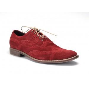 Pánske kožené topánky bordovej farby na šnurovanie COMODO E SANO