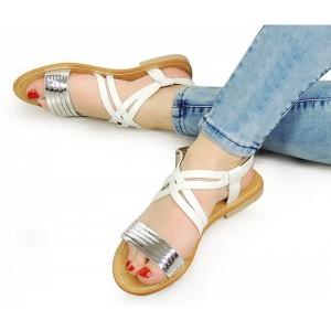 Bielo strieborné dámske sandále na nízkej podrážke