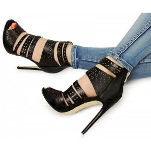 Čierne dámske sandále so zapínaním na zips