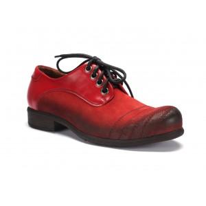 Červené pánske kožené topánky  COMODO E SANO so šnúrovaním