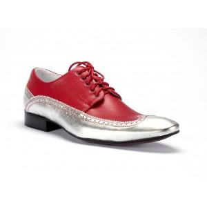Červené pánske kožené topánky so strieborným lemovaním COMODO E SANO