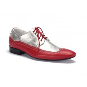 Červeno strieborné pánske extravagantné kožené topánky COMODO E SANO