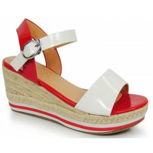 Červeno biele dámske sandále na platforme