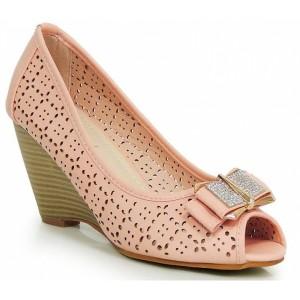 Ružové dámske sandále na platforme s mašličkou