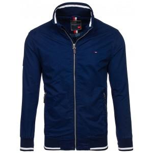 Jarná pánska bunda tmavo modrej farby bez kapucne