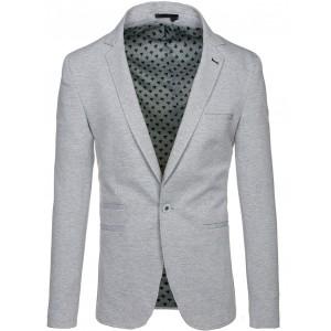 Sivé pánske sako s vreckami a gombíkom