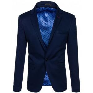Tmavo modré pánske sako s vreckami a zapínaním na gombík