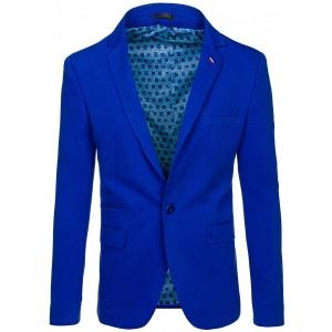 Elegantné modré pánske sako s vreckami