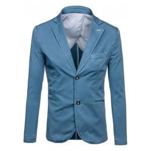 Svetlo modré pánske sako so zapínaním na gombíky