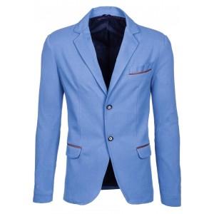 Modré elegantné pánske sako s lakťovými nášivkami