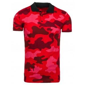 Červené pánske polo tričká v army štýle
