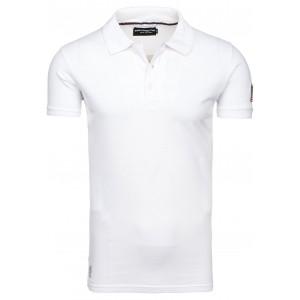 Bavlnené biele pánske polo tričká s americkou vlajkou